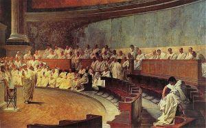 Cicero berpidato di Senat